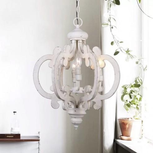 6 Light Wooden Chandelier Antique White Whoselamp