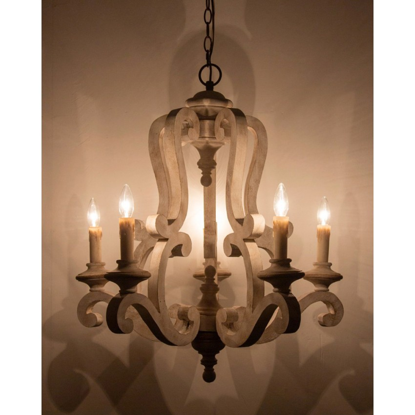 - Parrotuncle Antique Wooden Candle Chandelier With White Finish