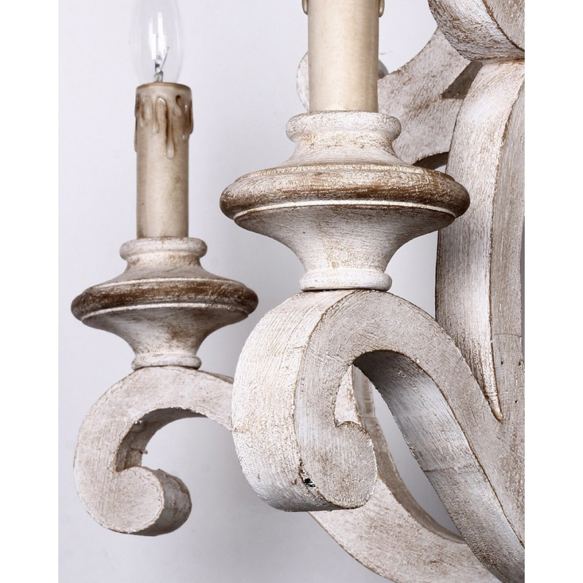 ... Parrotuncle Antique Wooden Candle Chandelier with White Finish ... - Parrotuncle Antique Wooden Candle Chandelier With White Finish