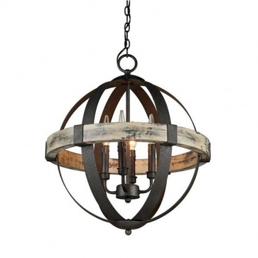 Castello Wood Wrought Iron 4 Light Chandelier