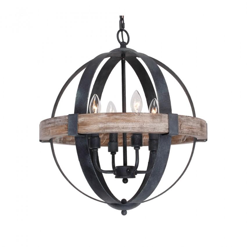 Castello 4 Light Chandelier Weathered Oak Wood Whoselamp
