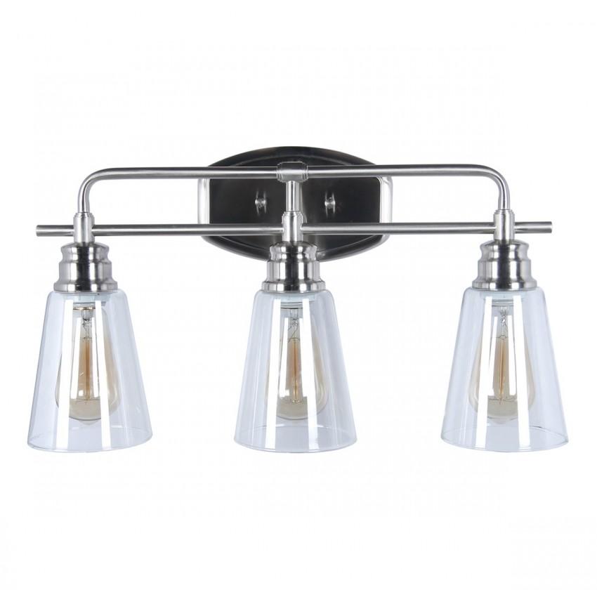 Modern 3-Light Vanity Light,Stain Nickle