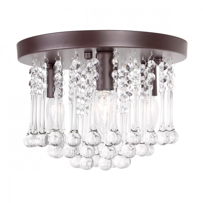 semi flush mount ceiling lights. More Views. 3-Light Crystal Semi Flush Mount Ceiling Lights E