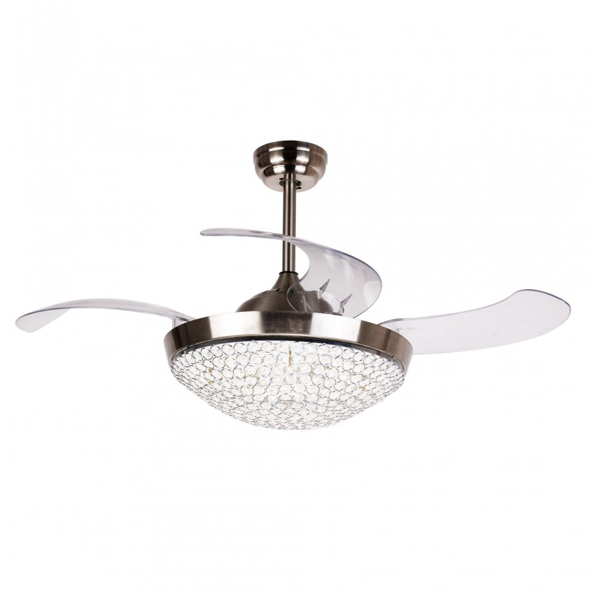 42 5 Quot Brownesville 4 Blade Led Ceiling Fan With Remote Chrome Whoselamp