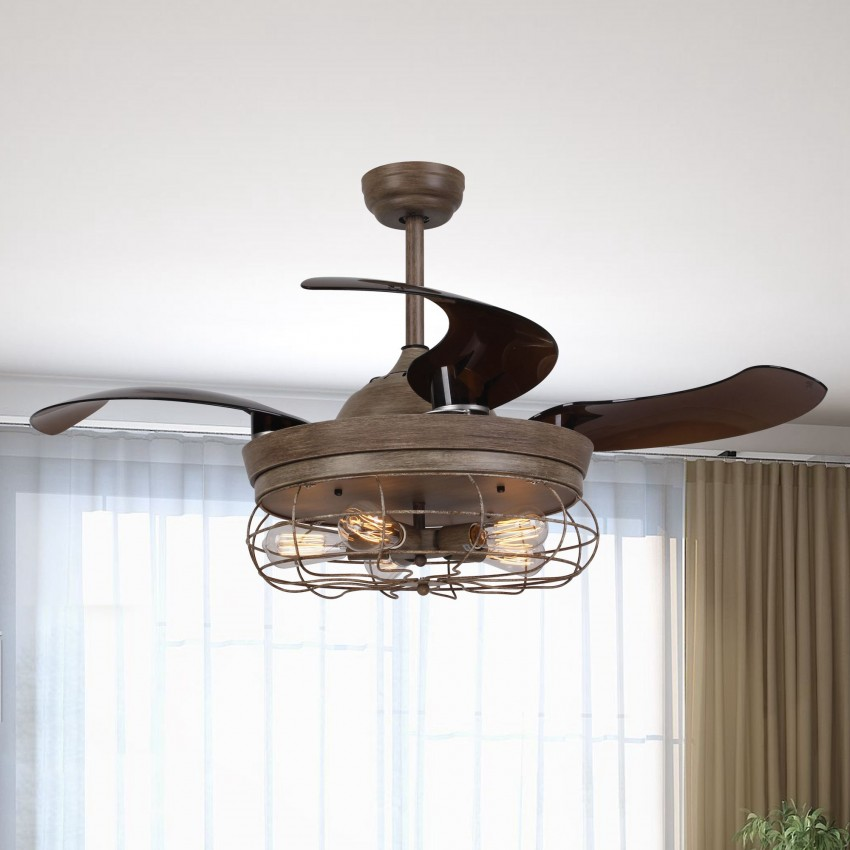 "42.5"" Benally 4 Blade Ceiling Fan with Remote, Weathered Oak Wood"