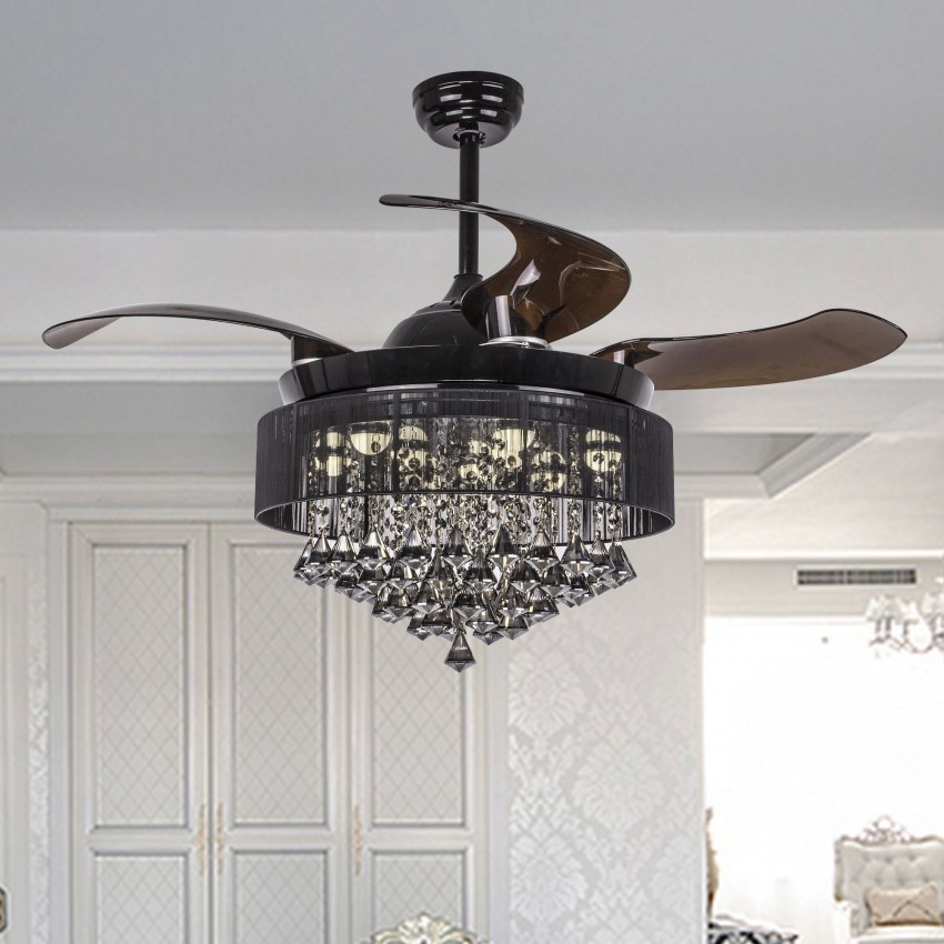 43 Quot Birchley 4 Blade Led Ceiling Fan With Remote Black