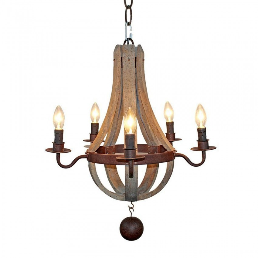 Farmhouse Wood Chandelier 5 Light Candle Style