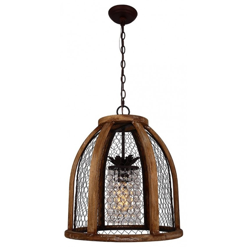 Scroll Distressed Pendant Light, Antique Brown