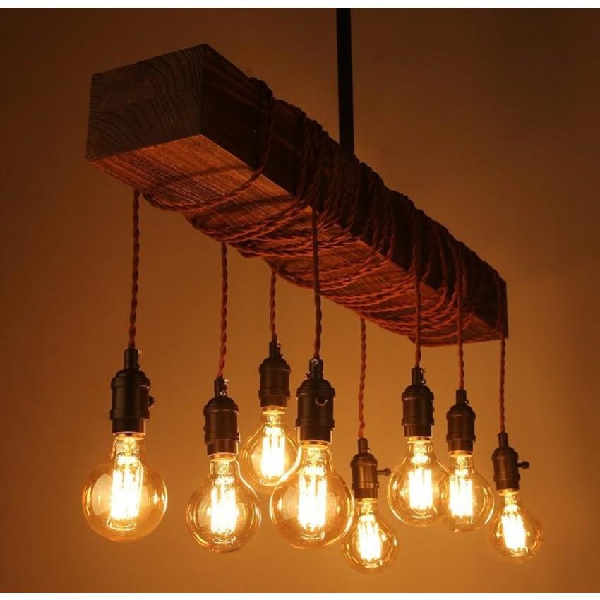 8 Light Wood Beam Chandelier Chandelier Whoselamp