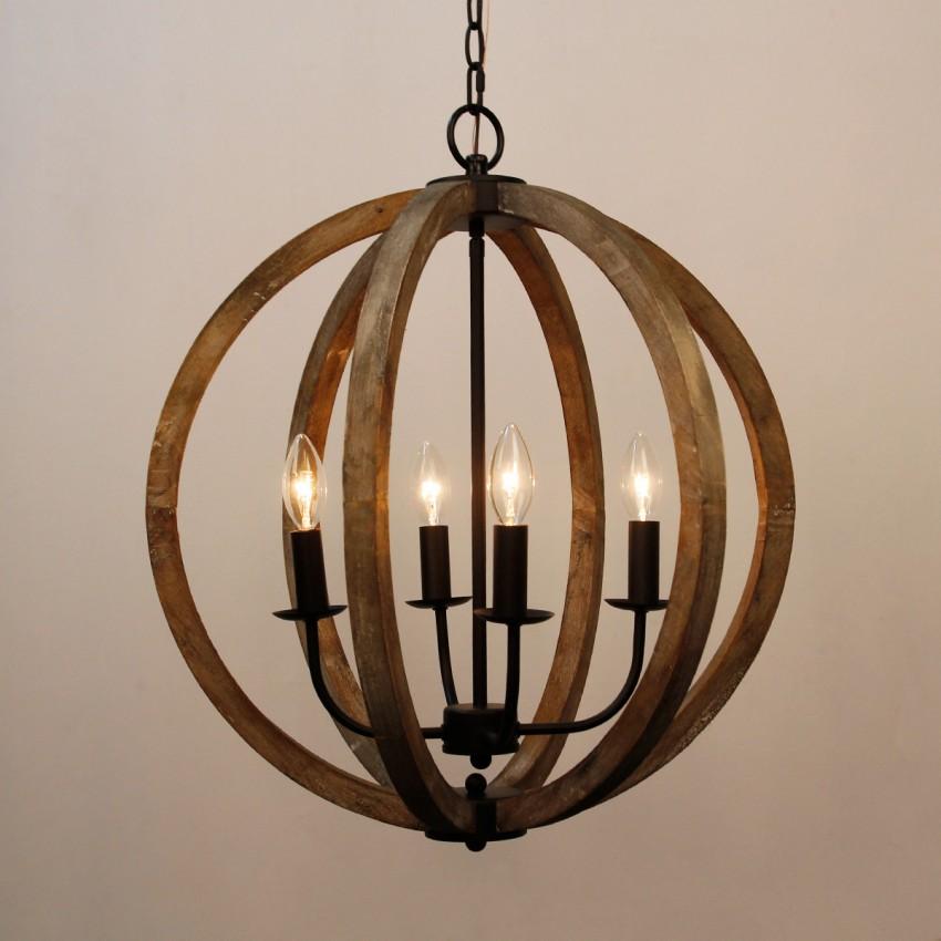 Gobal 4 Light Chandelier Weathered Oak Wood Whoselamp