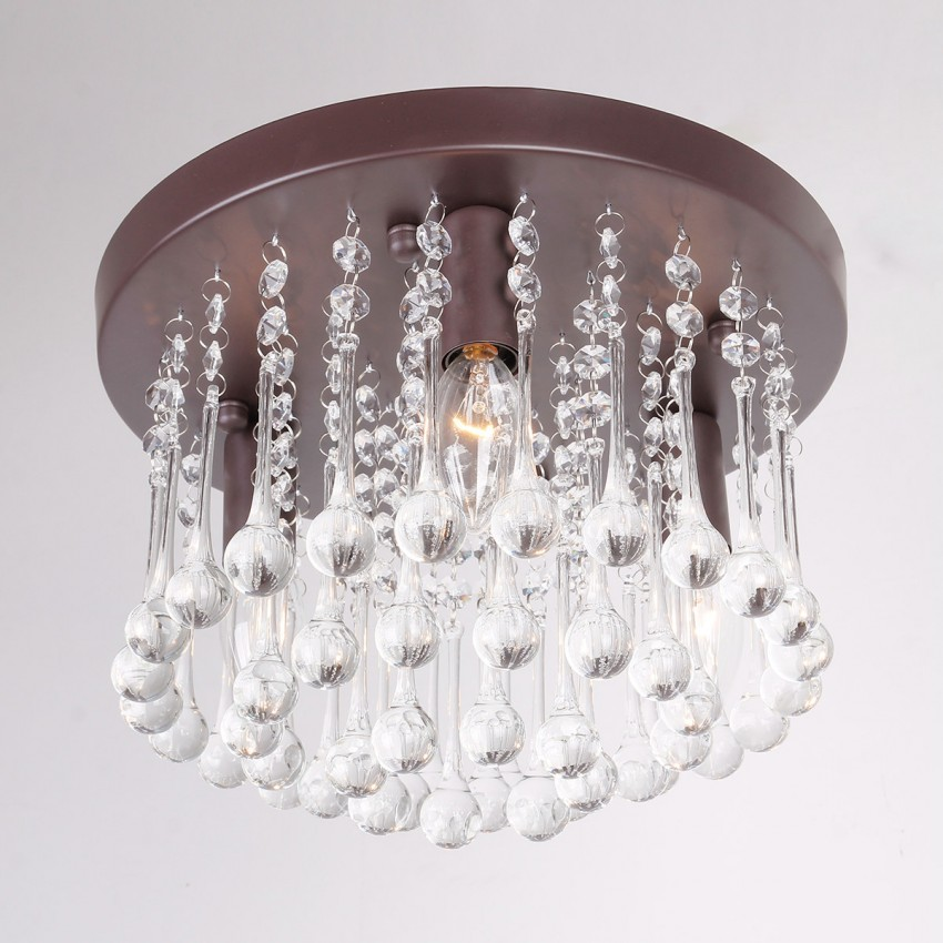 3 Light Crystal Semi Flush Mount Ceiling Lights