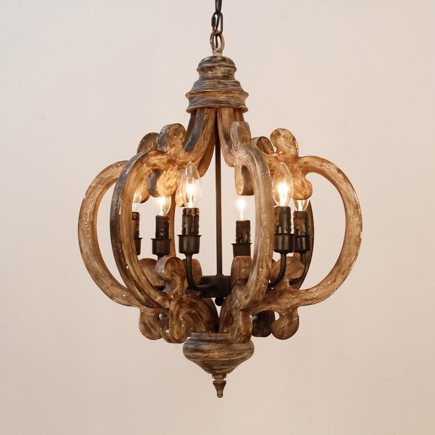 6 Light Wooden Chandelier Weathered Oak Wood Whoselamp