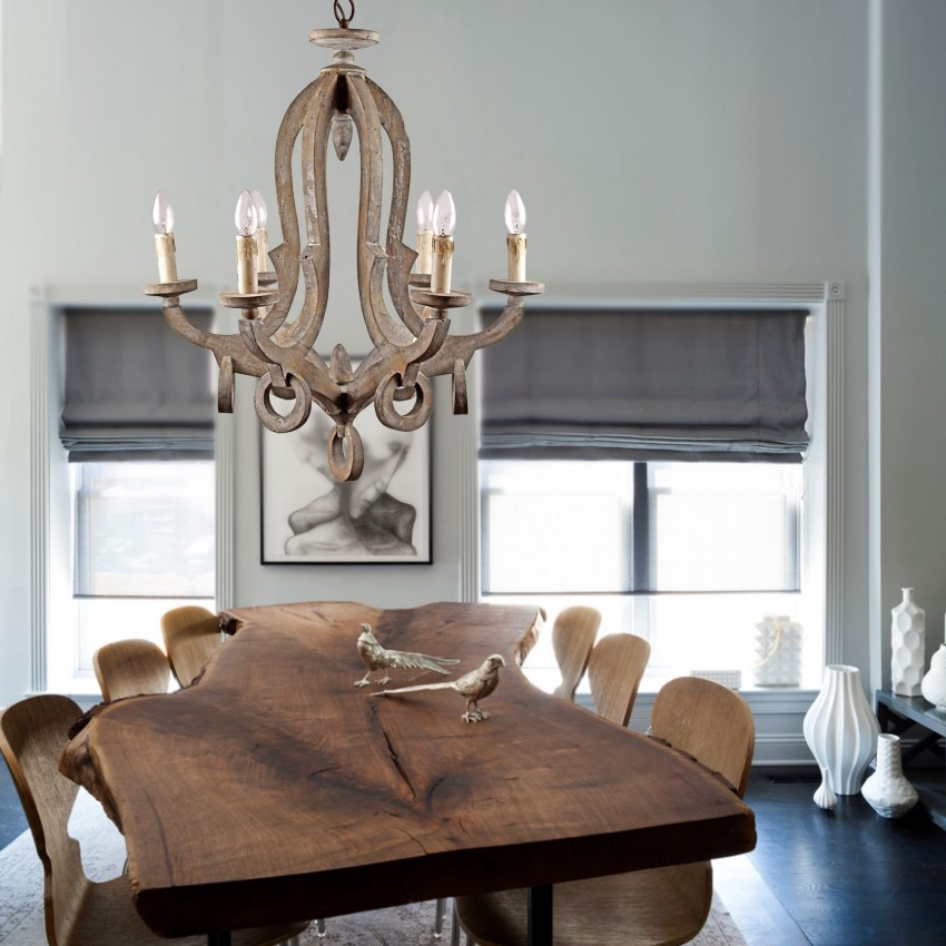 6 Light Candle Style Wooden Chandelier, Wood Chandelier Dining Room