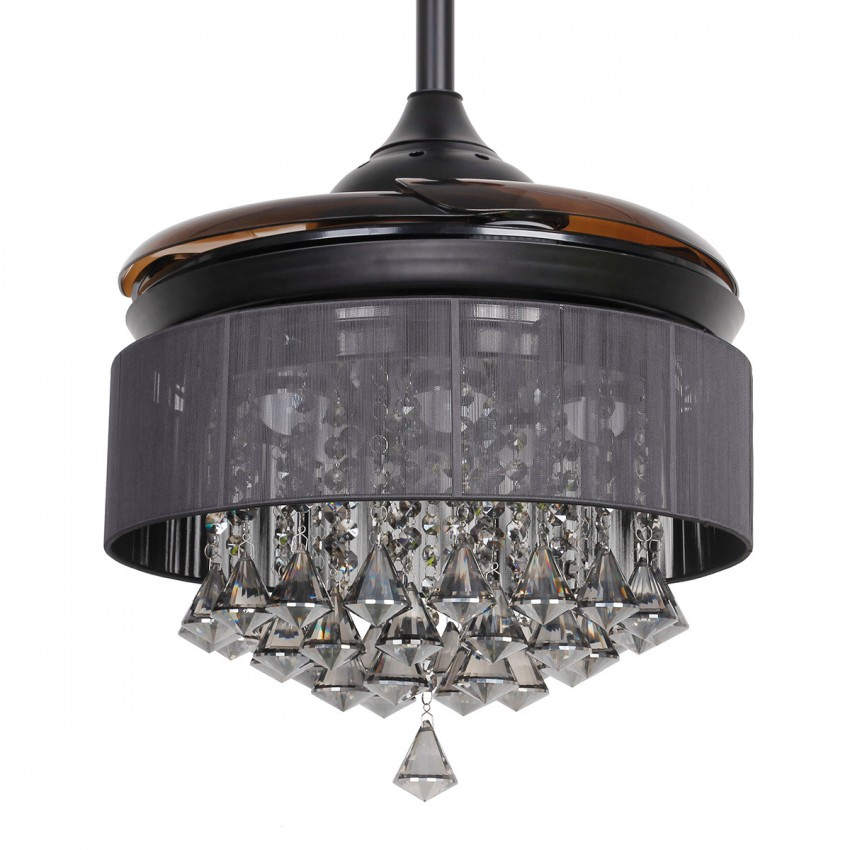 ... 36 Inch Modern LED Crystal Chandelier Black Ceiling Fan With Lights And  Remote Invisible Retractable Blades ...