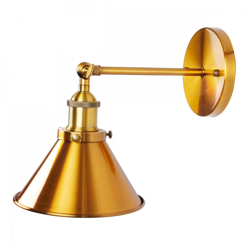 1 Light Wall Sconce With Metal Cone Shade Brass Whoselamp