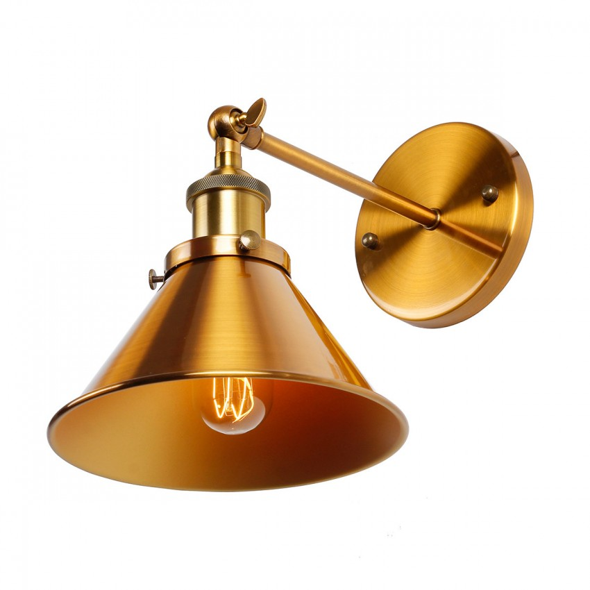 Metal Lamp Cone Shade: 1-Light Wall Sconce With Metal Cone Shade, Brass