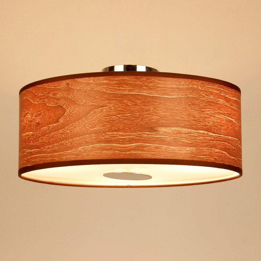 3 light walnut flush mount with wood shade in chrome whoselamp