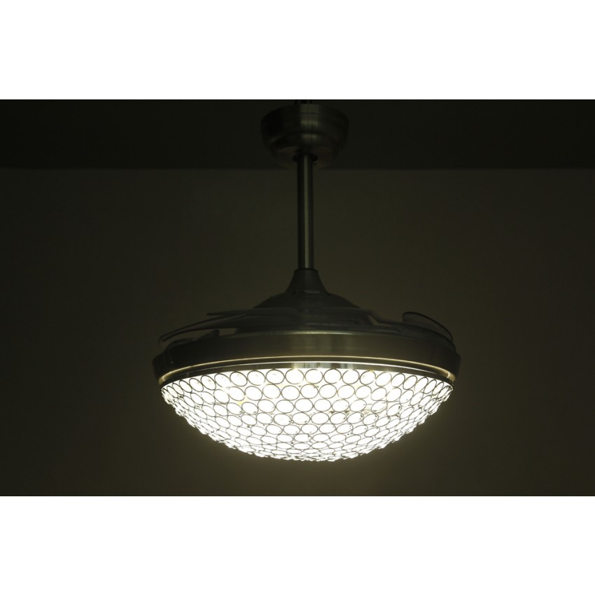 42 Inch Dimmable Led Crystal Chandelier Ceiling Fan With Lights And Remote Fandelier Retractable Blades