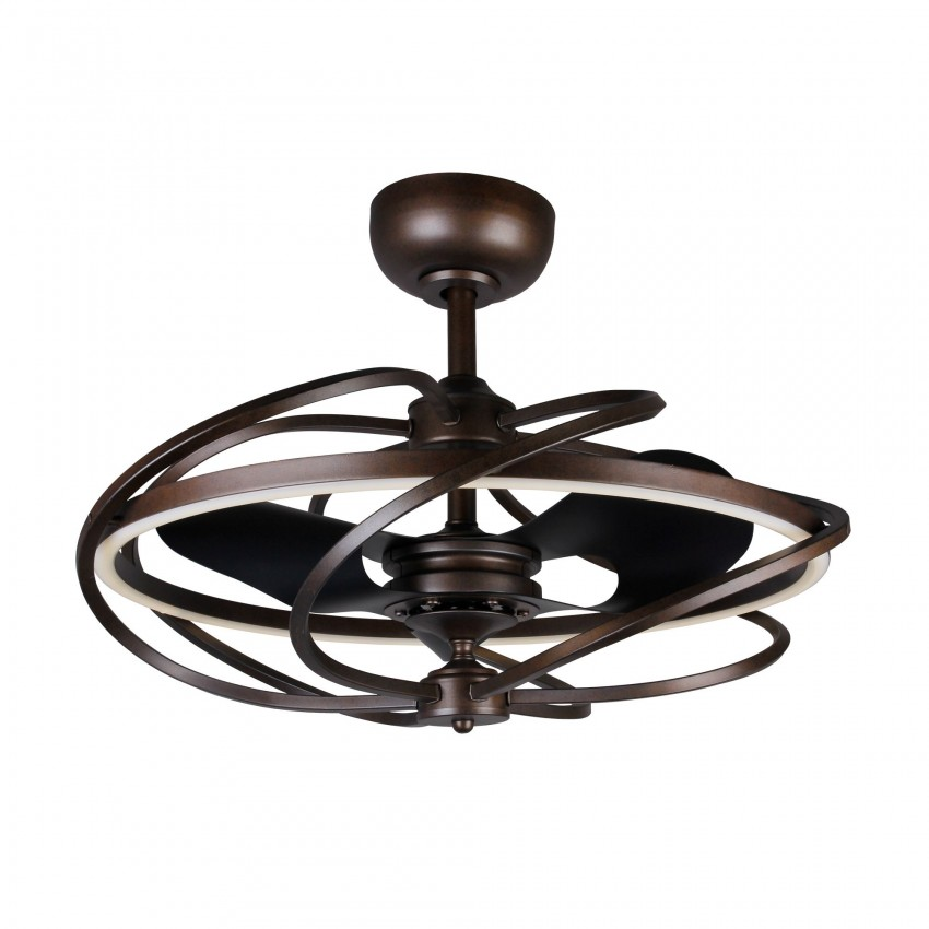 27 Inch Solstice Modern LED Reversible 3 Blade Ceiling Fan with Lights and Remote Fandelier, Bronze