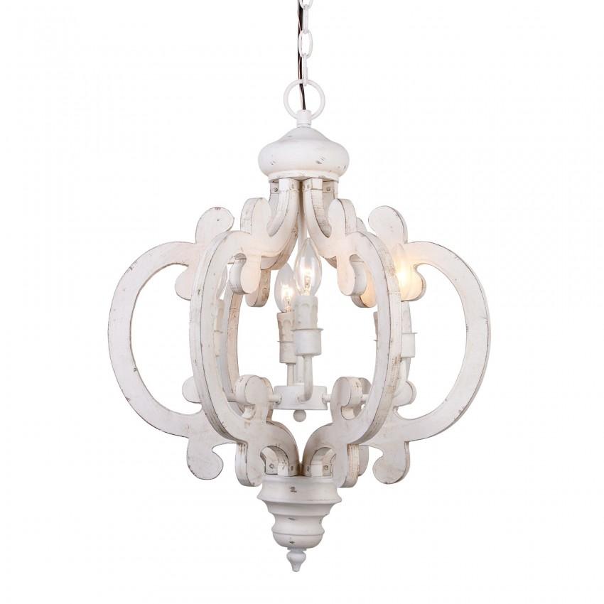 6 Light Crown Wooden Chandelier, Antique White
