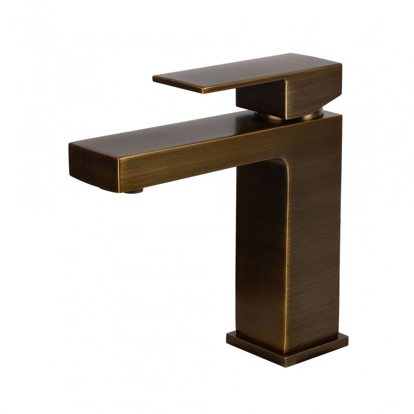 Modern Single Handle Bathroom Faucet, Green bronze