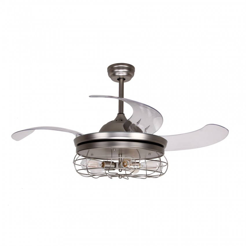 42 inch ceiling fan with remote 42 inch industrial caged ceiling fan with light and remote fandelier retractable blades satin nickel