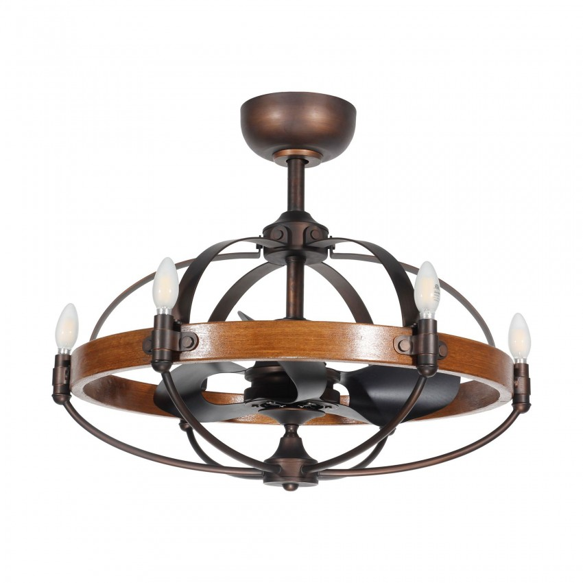 Rustic Wood Caged Ceiling Fan with Lights and 3 Reversible Blade Fandelier, Bronze