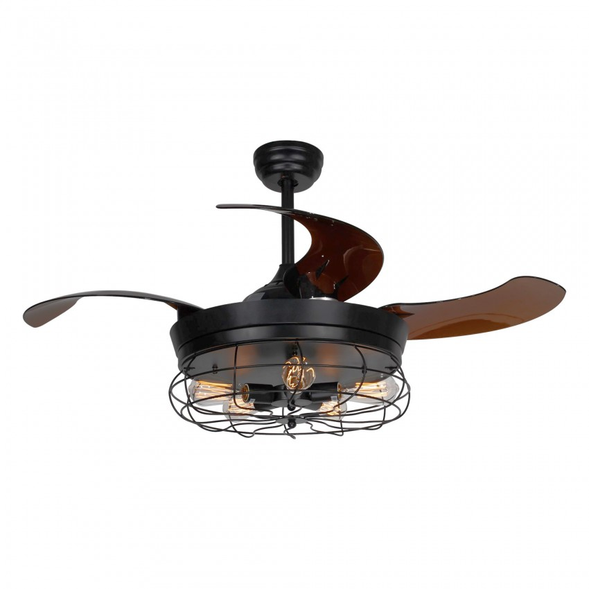 42 Inch Industrial Caged Ceiling Fan with Light and Remote Fandelier Retractable Blades