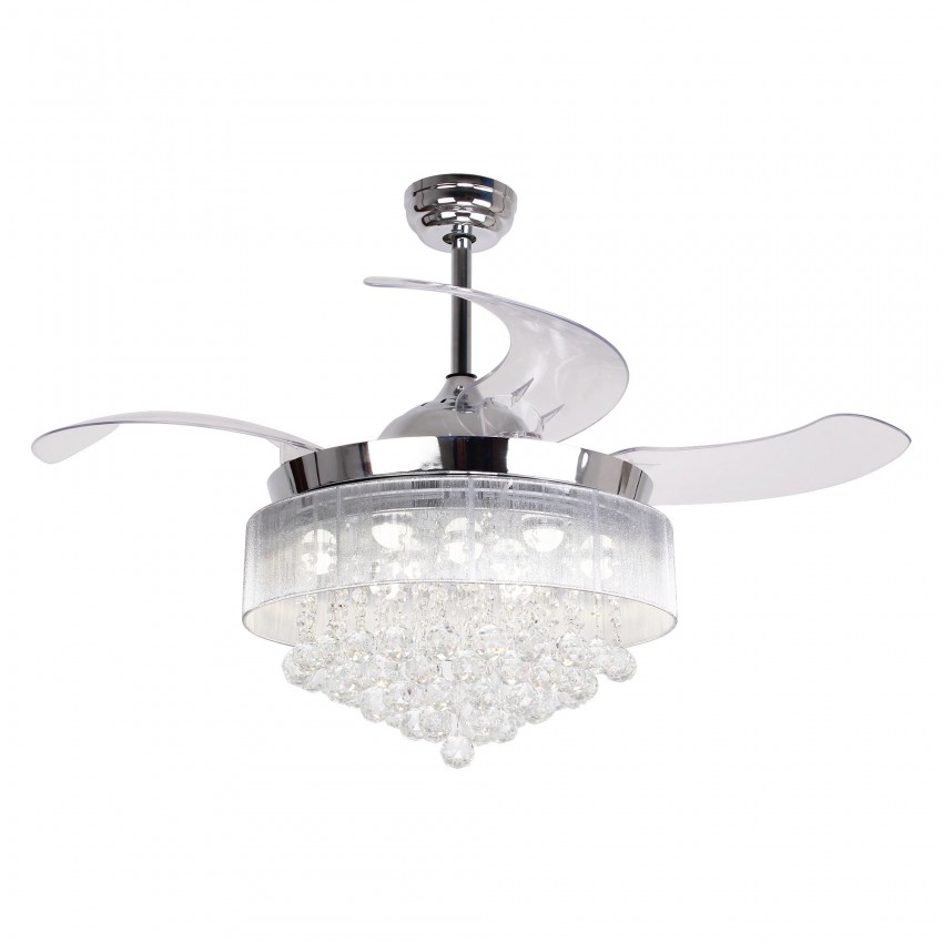 Modern LED Crystal Retractable Ceiling Fan with Lights, Remote Control, Chrome