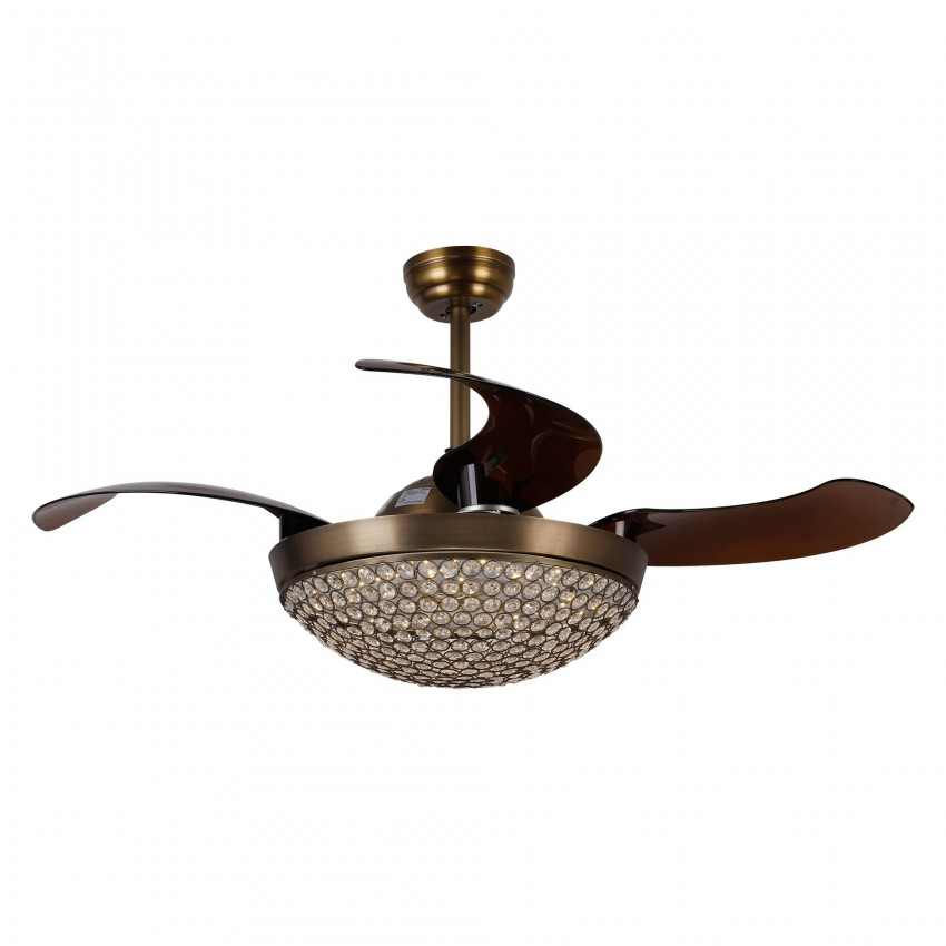 42 Inch Dimmable LED Crystal Chandelier Ceiling Fan with Lights and Remote Fandelier Retractable Blades, Antique Bronze