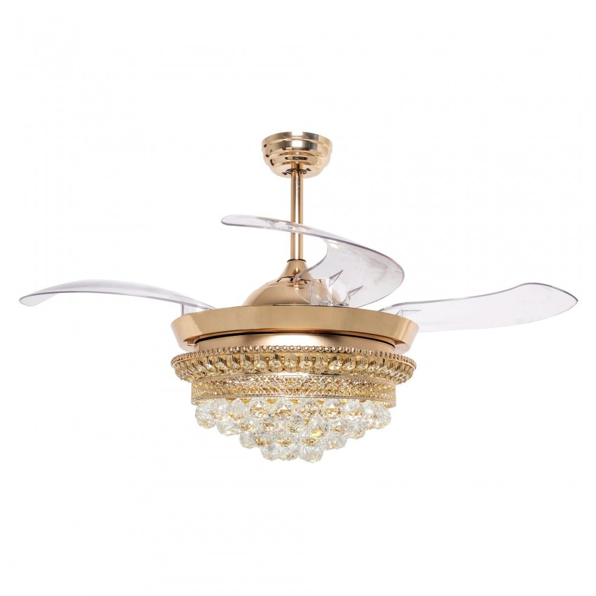 42 Inch Modern LED Ceiling Fan with Lights and Remote Crystal Chandelier Retractable Blades, Gold