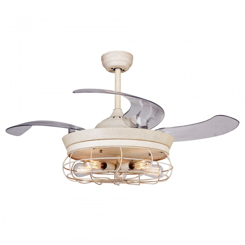 42 Inch Farmhouse Caged Ceiling Fan with Light and Remote Fandelier Retractable Blades, Distressed White