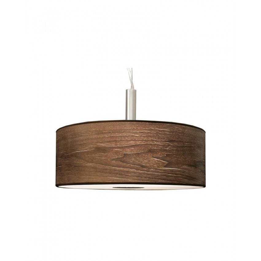3 Light Drum Pendant Lamp With Walnut Wood Shade