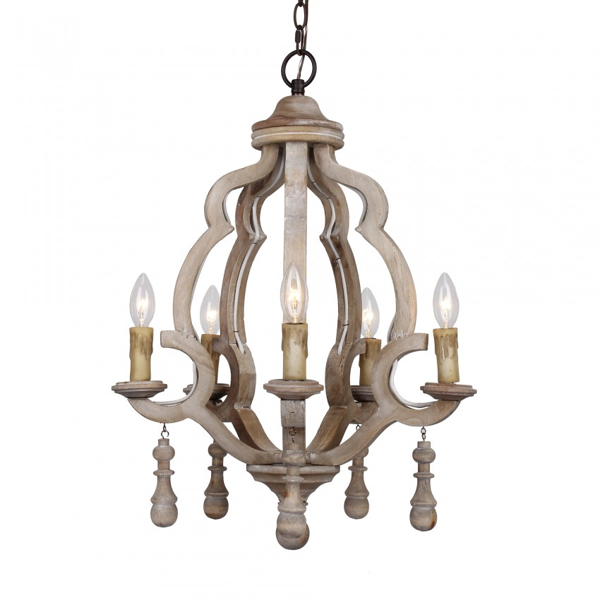 Caister 5-Light Candle Wooden Chandelier, Distressed Antique White
