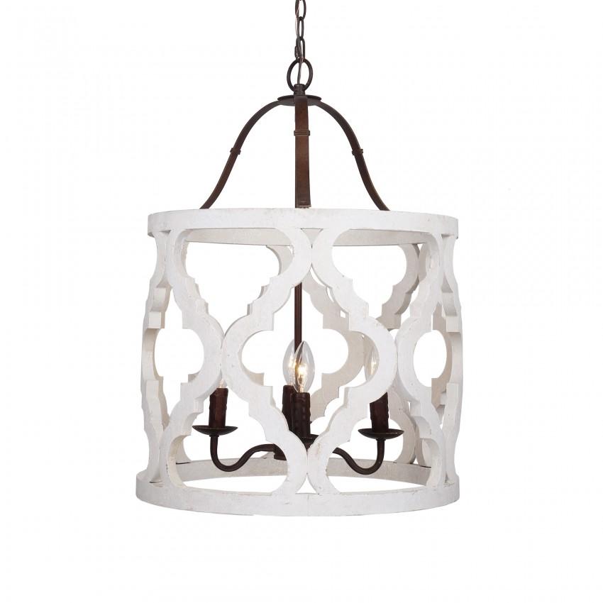 Jolette 4-Light Wood Chandelier, Antique White