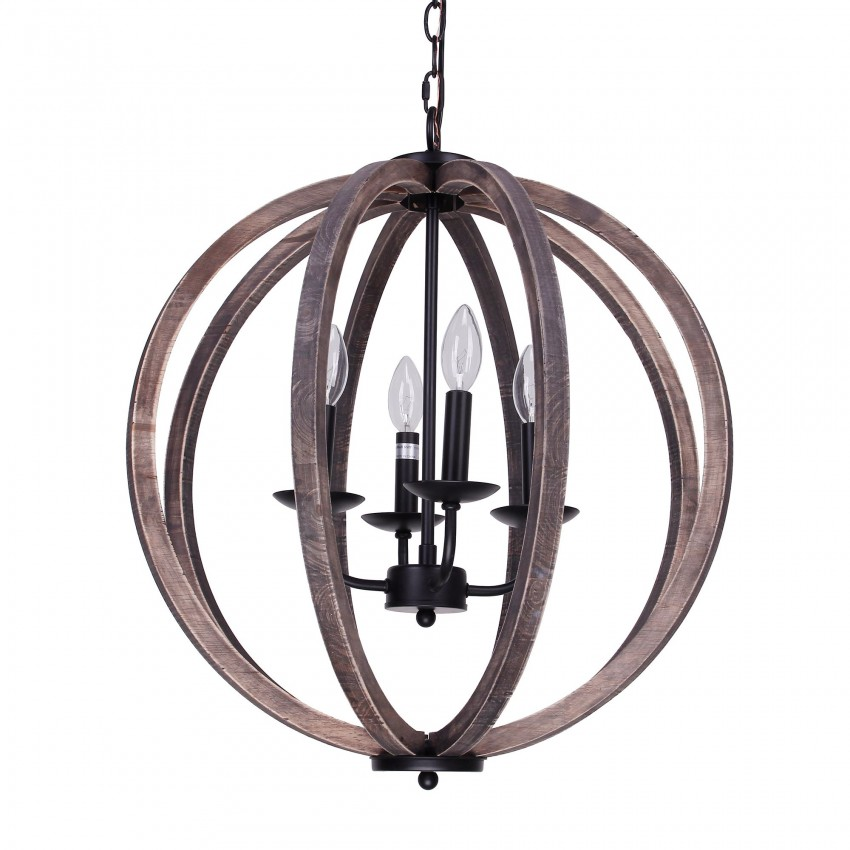 Allier 4-Light Chandelier, Weathered Oak Wood