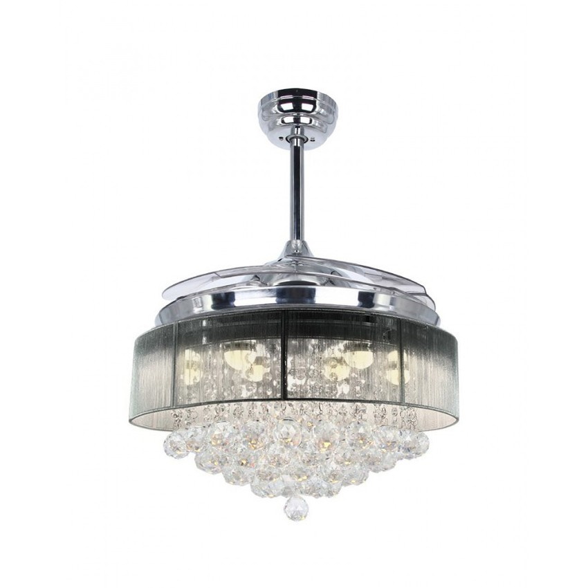 42 inch modern led crystal chandelier chrome ceiling fan with lights and remote fandelier retractable blades