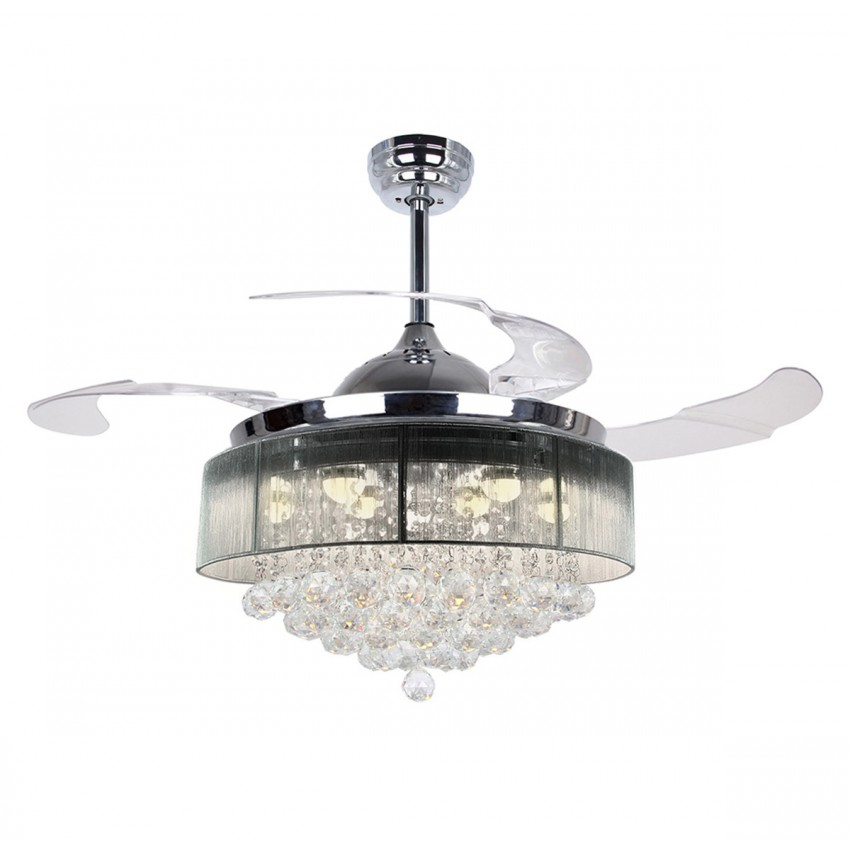 More views 42 inch modern led crystal chandelier chrome ceiling fan