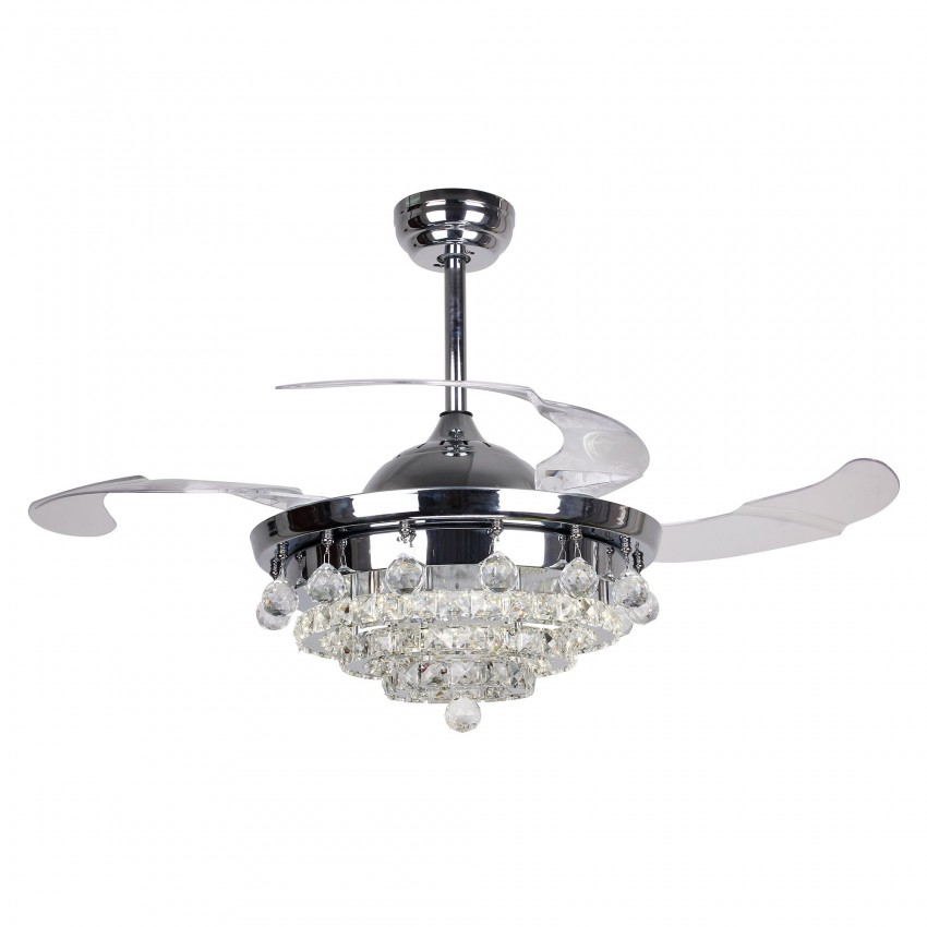 More Views 42 Inch Contemporary Led Chandelier Chrome Ceiling Fan With Lights