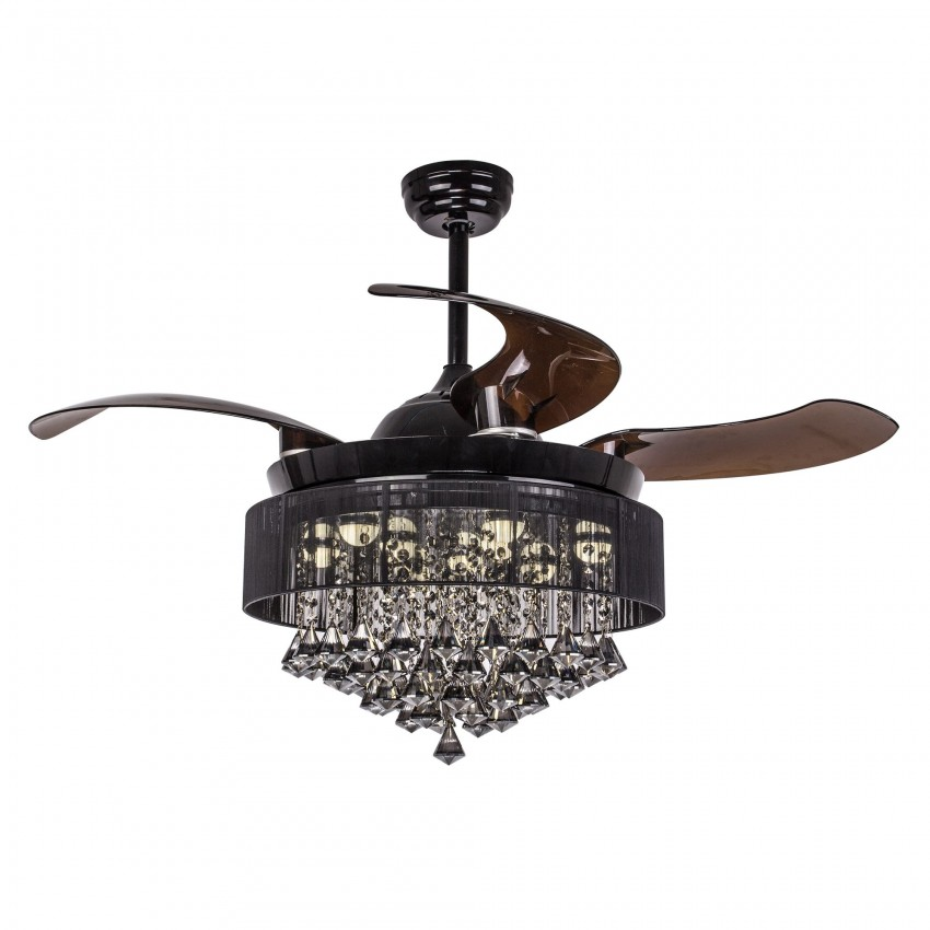 42 Inch Retractable Blade LED Ceiling Fan with Light and Remote, Black