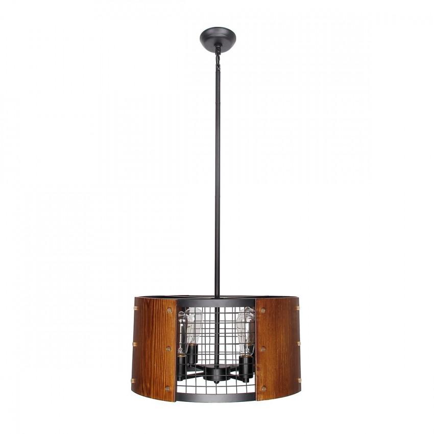 Industrial Albin 4-Light Wood Pendant