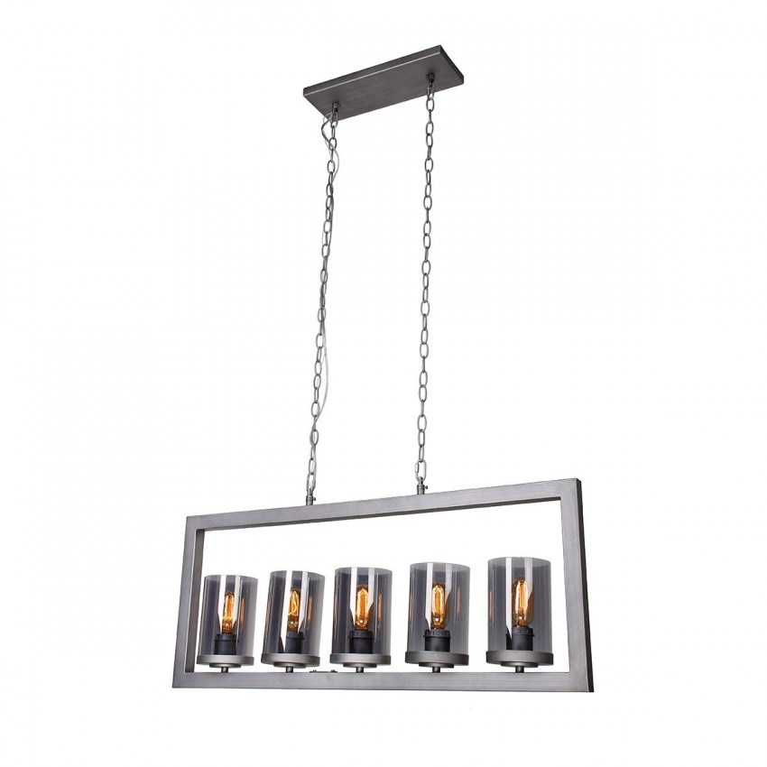 Stanton 5-Light Chandelier With Smoky Gray Glass Shade