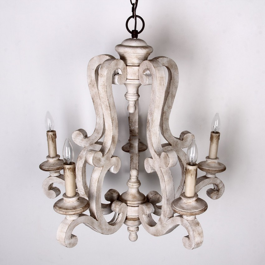 Whoselamp Antique 5 Lights Wooden Candle Chandelier Distressed White Whoselamp