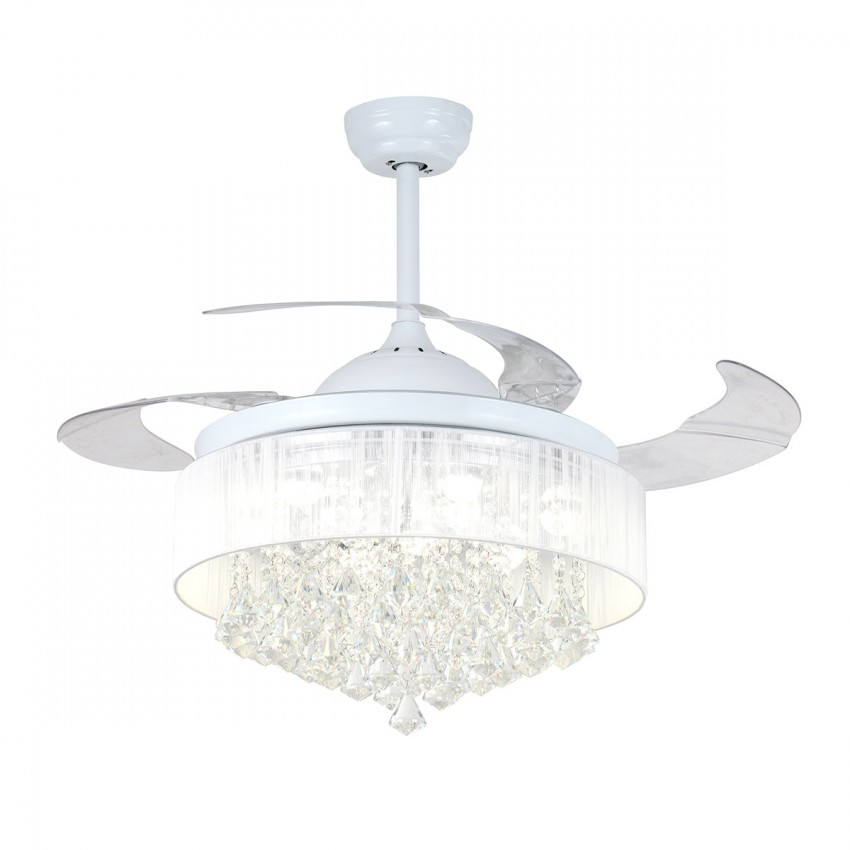 42 5 Crystal Led Ceiling Fan With Light Remote Foldable
