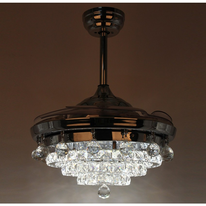 42 inch contemporary led chandelier chrome ceiling fan with lights and remote fandelier invisible retractable blades