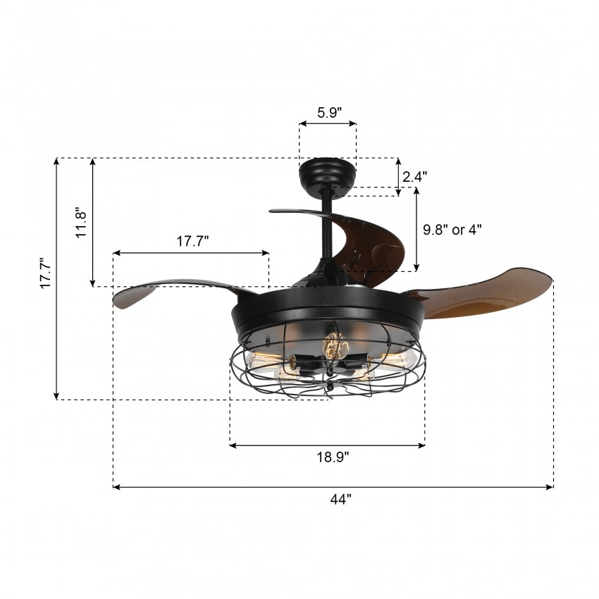 42 5 Quot Benally 4 Blade Ceiling Fan With Remote Black 2