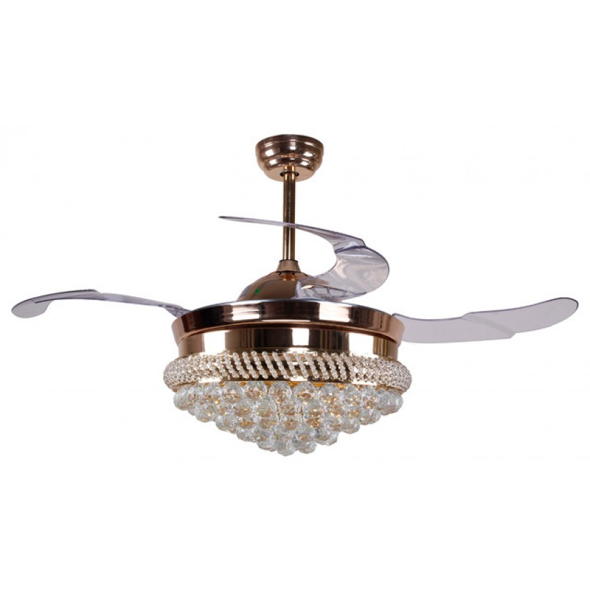 More views 42 inch modern led crystal chandelier ceiling fan