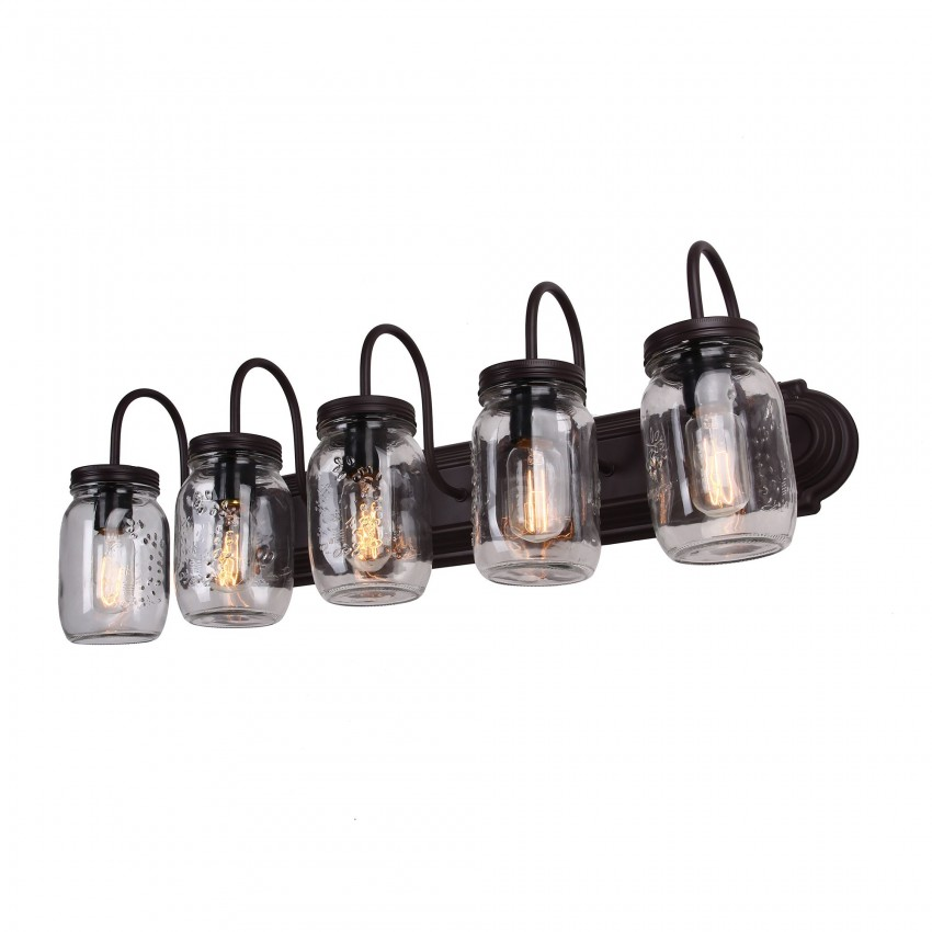 Mason Jar Vanity Light, Oil Rubbed Bronze, 5-Light