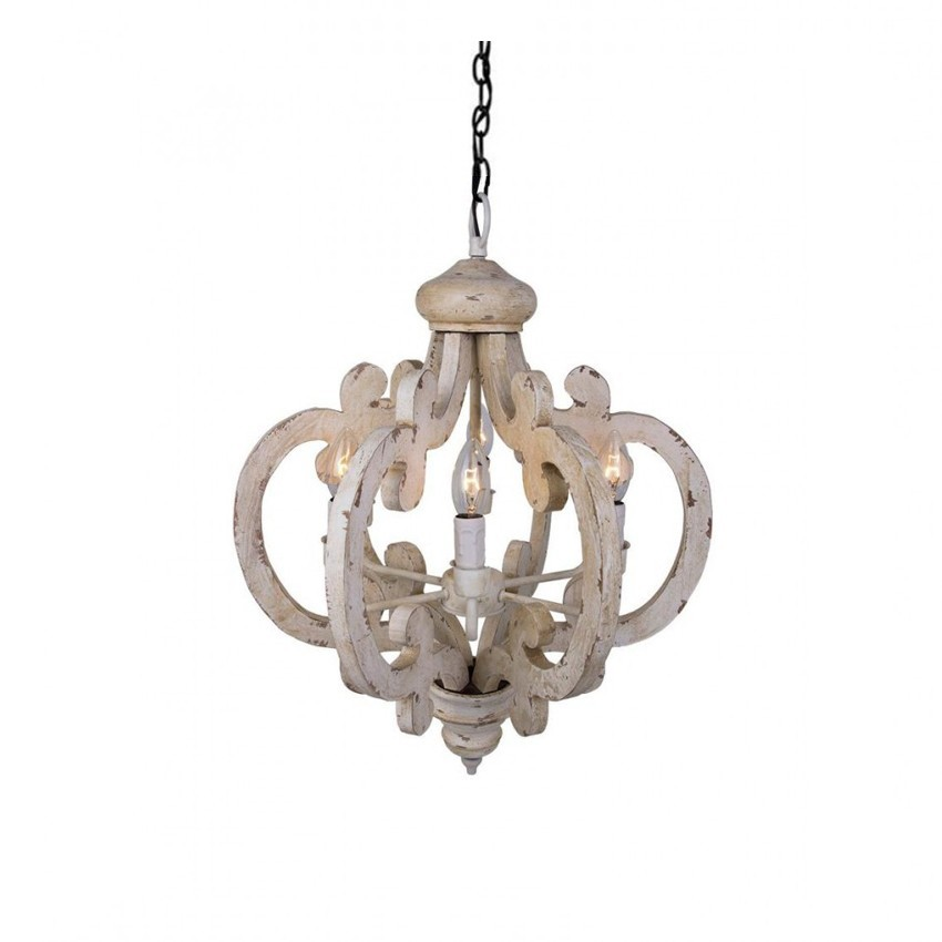 6 Light Wooden Chandelier Antique White Chandelier
