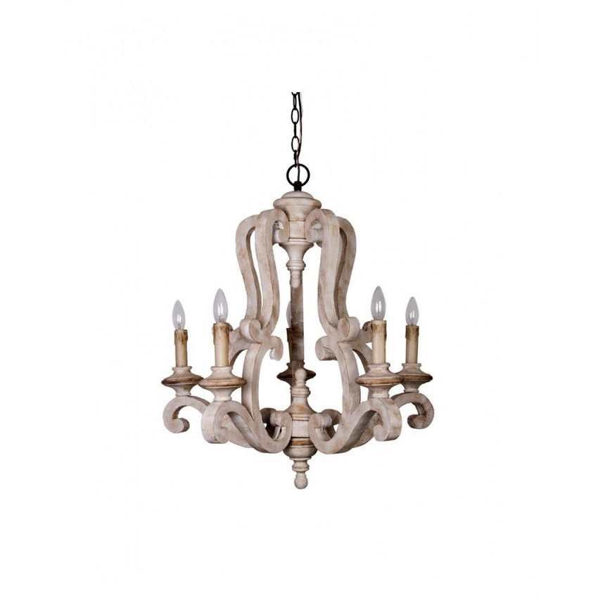 Parrotuncle Antique Wooden Candle Chandelier With White